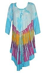 Indiatrendzs Women's Rayon Maxi Dress Boho Tie Dye Blue Causal Dresses
