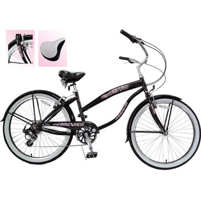 7-Speed Beach Cruiser Frame Color: Black with Pink Wheels (Ladies)