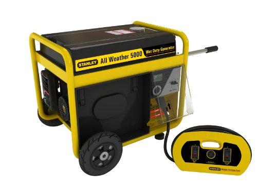 Stanley 5000 Watt, 6600 Surge Watt All Weather Generator, Removable Control Panel With Bonus 15-Feet Heavy Duty Cord