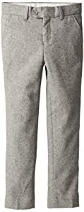 Isaac Mizrahi Big Boys' Slim Big Boys' -Fit Wool Tweed Pant, Light Grey, 12