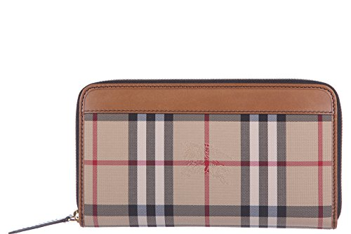 Burberry portafoglio portamonete donna in pelle horseferry check renfrew marrone