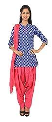 Rama Suit Set of Indigo Color Floral Print Chinese Collar Neck 3/4 Sleeve Women Kurti & Pink Color Legging & Duppatta