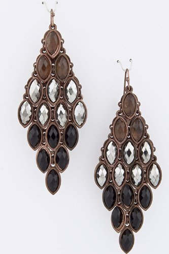 Trendy Fashion Jewelry Tonal Jewel Cluster Earrings By Fashion Destination | (Black/Multi)