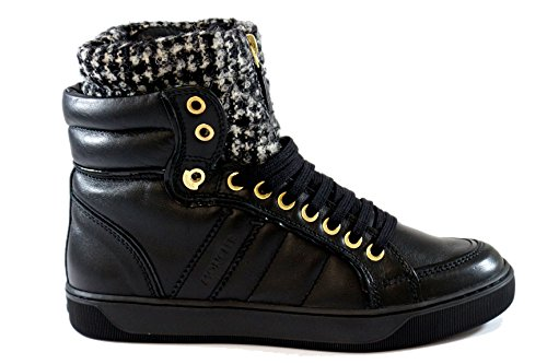 MONCLER: Sneakers alte in pelle nera inverno 2015 (35, nero con pelo)