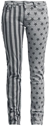 R.E.D. by EMP Stars and Stripes Pants (Slim Fit) Pantaloni donna nero/grigio W30L34