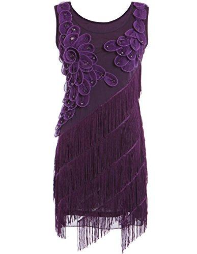 PrettyGuide Women's 1920s Beaded Fringe Scalloped Petal Plus Size Flapper  Dress
