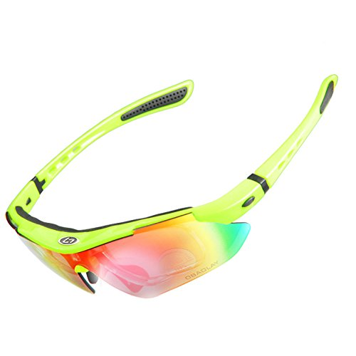 Riders High 変幻自在グラス 偏光 UV400 スポーツなど状況に合わせて5枚レンズを交換可能 【全9色】 サングラス + 防水ケース a306 (蛍光イエローa312h)