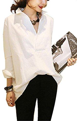Liliumoon Vネック 後ろ ボタン デザイン ゆったり ロング 白 シャツ ブラウス トップス 長袖 無地 きれいめ オフィス カジュアル レディース ファッション 春 夏 / ホワイト S M L XL XXL サイズ (Lサイズ・ホワイト)