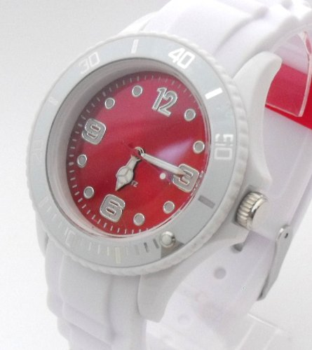 White/Red Ladies/Girls Silicone Ice Style Watch. 38mm Dial. 16-21cm Strap. Rotating Bezel