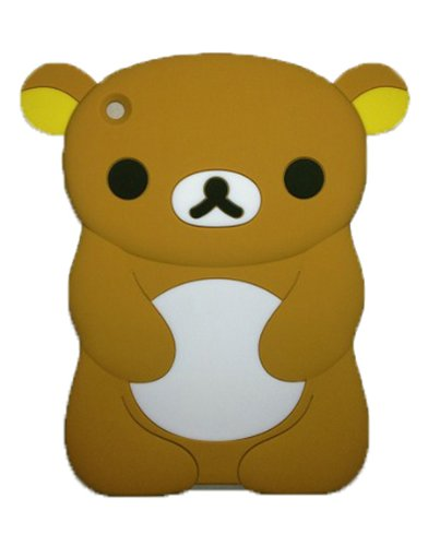 Byg Brown Lovely Rilakkuma/Bear Silicone Case Cover For Ipad Mini 7.9 Inch Back Case With Earphone Anti Dust + Gift 1Pcs Phone Radiation Protection Sticker