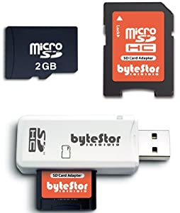 ByteStor 2GB Micro SD Card Universal Pack (includes USB Reader + Adapter)