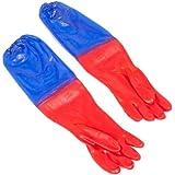 Teichhandschuhe 65 cm lang, wasserdicht, rot/blau für die Teichpflege