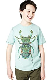 Pure Cotton Butterfly & Beetle Print T-Shirt with Stay New™
