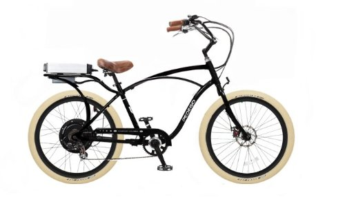 Pedego Black Comfort Cruiser Classic Electric Bike with Black Rims and Creme Balloon Tires