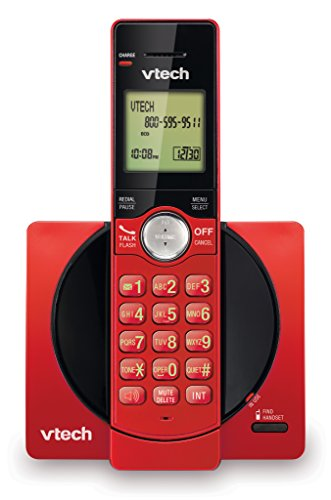 VTech DECT 6.0 Single Handset Cordless Phone with CID, Backlit Keypad and Screen, Full Duplex Handset Speakerphone, and Call Block Red