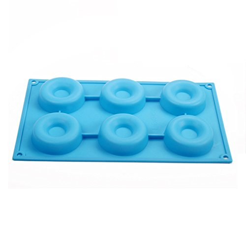 Generic 6 Cavity Donut Pan, Silicone Baking Cake Cookie Mold (Blue)