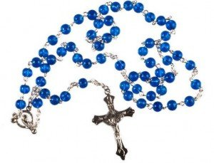BLUE ROSARY BEADS Rosaries Silver Metal Crucifix and Cross