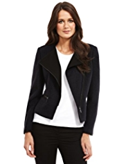 M&S Collection Biker Jacket with Wool