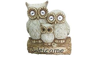Alpine Solar Owl Family Welcome Statue, 16 by Alpine