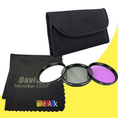 49Mm 3 Piece Filter Kit For Sony Alpha Nex-5T With Sony Sel 55-210Mm F/4.5-6.3 Telephoto Lens + Davismax Fibercloth Filter Bundle