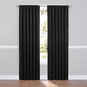 Eclipse Ella Blackout Window Curtain Panel 84 Inch Black Home Kitchen