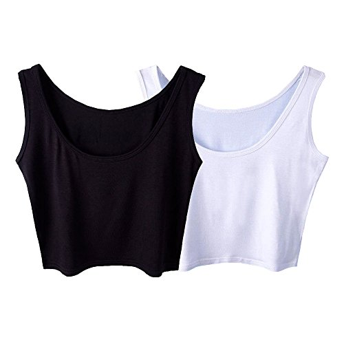 Micmall Women's Tanks & Camis Camisole Short U-Neck Tight-Fitting Thin Crop Vest White/Black (Women Short Tank Tops compare prices)