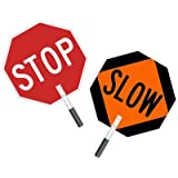 """SmartSign Reflective Aluminum Paddle (with foam handle), Legend """"Stop - Slow Double Sided"""", 18"""" tall octagon, Black/Red/Orange on White"""