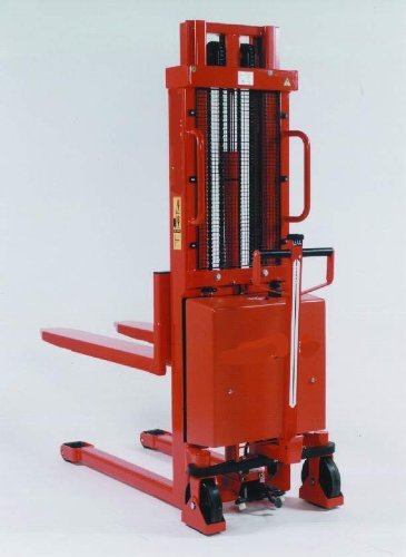 "Beacon Trans-Stacker Fork Over Design - Manual Drive / Electric Lift; Capacity: 2,200 Lbs.; Raised Fork Height: 63""; Lowered Fork Height: 3-1/4""; Fork Width: 6-1/2""; Raised Mast Height: 77""; Lowered Mast Height: 76""; Overall Width: 27""; Overall Length: 68"