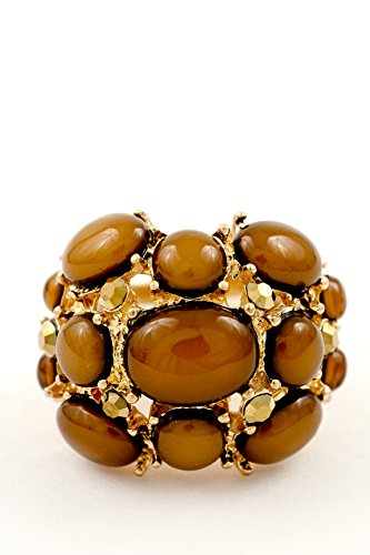 Trendy Fashion Jewelry Stacked Stone Ring By Fashion Destination | (Brown)