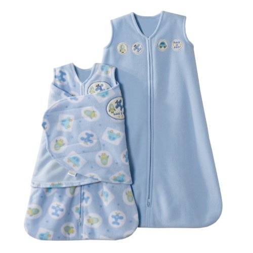 Halo Sleepsack 2 Piece Micro-Fleece Swaddle And Wearable Blanket Gift Set, Blue Moving Things, Newborn/Small