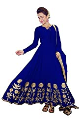 OMSAI FASHION Women's blue Georgette Embroidery semi stitched Free Size Salwar Suit Dress Material (Women's trisha Blue Indian Clothing )