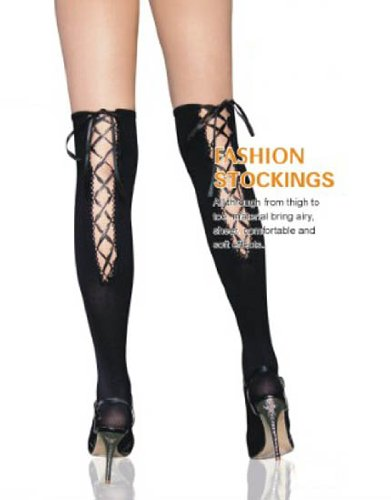 Black Hold Up Stockings - Lace Up Backs