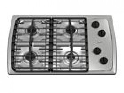 Whirlpool : SCS3017RS 30 Gas Cooktop, 4 Sealed Burners, Continuous Grates – Stainless Steel