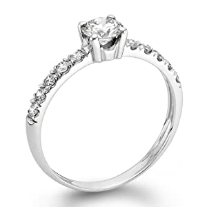 Diamond Engagement Ring 1/2 ct, I Color, SI2 Clarity, Certified, Round Cut, in 14K Gold / White