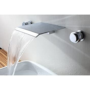 Sumerain International Group Double Handle Wall Mount Waterfall Bathroom Sink Faucet