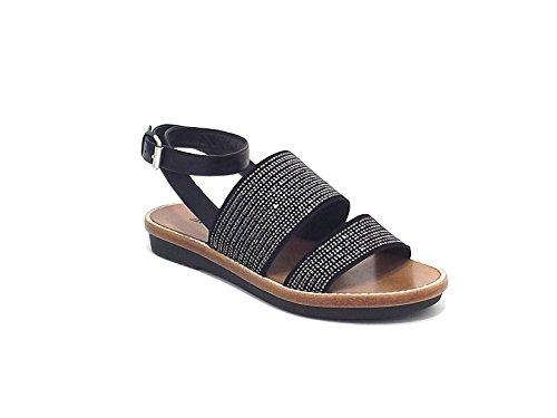 Janet & Janet donna, modello sandalo 3700, in pelle e borchie, colore nero e piombo