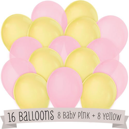 16 Pack of Latex Balloons (8 Pink & 8 Yellow) - 1