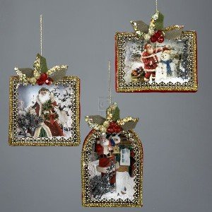 SHADLE BOX OF SANTA ORNAMENT – 6″ VINTAGE SHADLE BOX OF SANTA ORNAMENT, SET OF 3 ASSORTED – Christmas Ornament, Quantity of 2 pc,