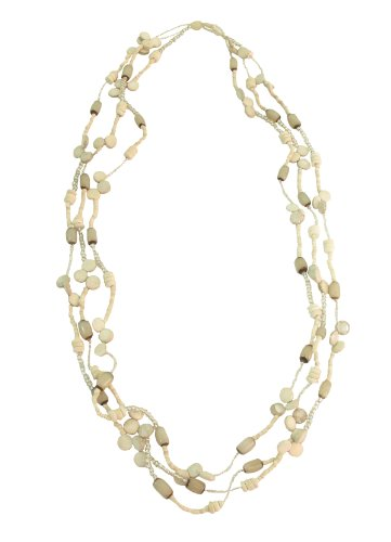 3-Strand Beige Coco Beads Long Necklace-Length 99cm, Worn Full Length or Double Up as Choker, No Clasp