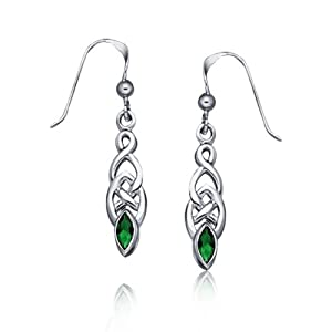 Bling Jewelry Emerald Green Color Celtic Knotwork Drop Earrings 925 Sterling Silver