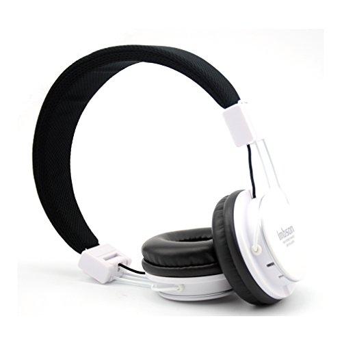 Granvela Imbson A802 Foldable Headphone Headset New Fashion Brand Music Player Wireless Handsfree Headset Headphones Earphone,Support Tf Card Fm Radio Monitor Portable Audio Pc --White