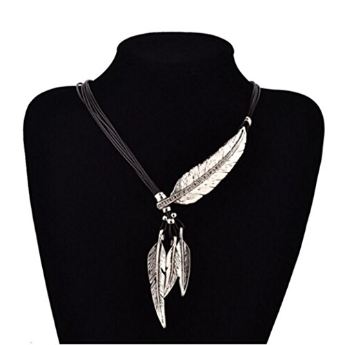Sunnywill-Fashion-Bohemian-Style-schwarz-Seil-Kette-Feder-Muster-Anhnger-Halskette-fr-Damen-Mdchen-Silber