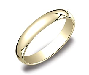 Men's 10k Yellow Gold 4mm Traditional Plain Wedding Band, Size 9