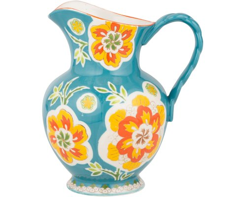 Gracie China Dutch Wax Hand Paint Ceramic 9-3/4-Inch Pitcher 80-Ounce Floral Teal Golden