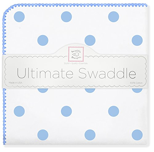 SwaddleDesigns Ultimate Receiving Blanket, Big Dot, Blue