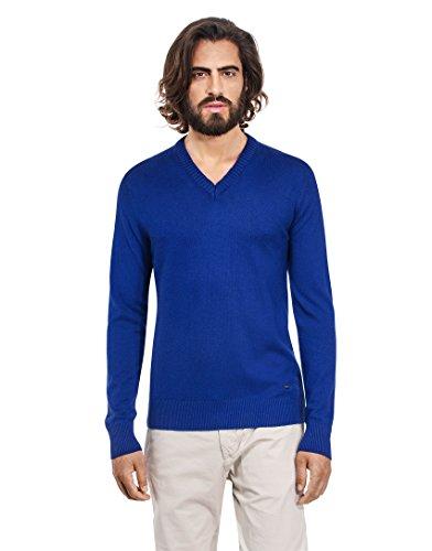 VB-Maglione da uomo con scollo a V, Slim Blue Small