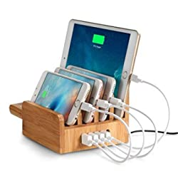 "(FOR APPLE FANS) Outtekâ""¢ 3 in 1 Multi-Port USB Bamboo Charging Station (40W 5-Port USB Charging Dock) Charging Stand, Cradle, Charging Station Desktop Charger Holder for Apple Watch ,iPhone,iPad"