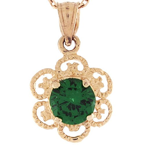 14k Gold 6mm Synthetic Emerald May Birthstone Filigree Charm Pendant