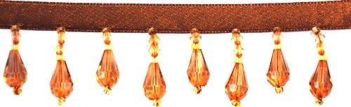 Belagio Acyrlic Beaded Trim, 15-Yard, Brown and Gold