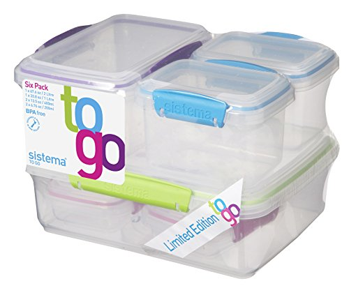 sistema-to-go-food-storage-containers-multi-colour-pack-of-6